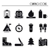 Hiking and Camping Icons Set. Outdoor Camp Sign and Symbol. Backpacking Adventure. Hiking and Camping Icons Set. Outdoor Camp Sign and Symbol. Backpacking Stock Image