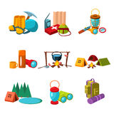 Hiking and Camping Icons Set Vector Illustration Royalty Free Stock Image