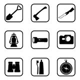 Hiking and camping icons on white background. Royalty Free Stock Image