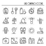 Hiking and Camping Line Icons Set. Outdoor Camp Sign and Symbol. Backpacking Adventure. Hiking and Camping Line Icons Set. Outdoor Camp Sign and Symbol Royalty Free Stock Photo