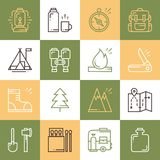Hiking and Camping Line Icons Set. Outdoor Camp Sign and Symbol. Backpacking Adventure. Colorful squares. Hiking and Camping Line Icons Set. Outdoor Camp Sign Stock Images