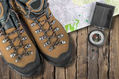 Hiking. Camping Map Backpack Compass Boot  Boot royalty free stock image