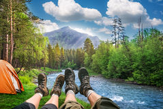 Hiking and camping Royalty Free Stock Photos