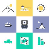 Hiking and camping pictogram icons set Royalty Free Stock Images