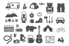 Hiking, camping - set of icons and elements Royalty Free Stock Images
