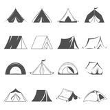 Hiking and camping tent vector icons. Tourism and camping symbols Royalty Free Stock Images