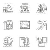 Hiking and camping thin flat line icons set Royalty Free Stock Images