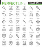 Hiking and camping. Thin line web icons set Stock Photography