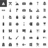 Hiking and Camping universal vector icons set royalty free illustration