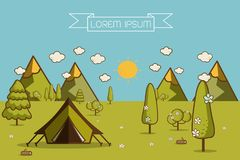Hiking and camping Vector  illustration Stock Images