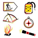 Hiking and camping vector set stock photography