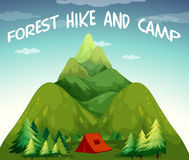 Hiking campsite. Illustration of a view  of hiking and camping site Stock Photo