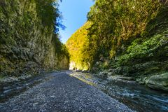 Hiking in a canyon of Bras de La Plain at Reunion Island. Hiking in a canyon during a sunny day, Bras de La Plain at Reunion Island Stock Photography