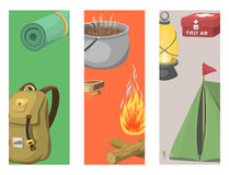 Hiking cards camping equipment gear and accessories hike outdoor cartoon travel vector illustration. Hiking cards camping equipment base camp gear and Royalty Free Stock Photography