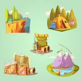 Hiking Cartoon Set Stock Images