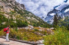 Hiking Cascade Canyon - Grant Tetons Stock Photography
