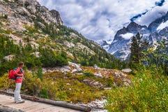 Hiking Cascade Canyon - Grant Tetons Stock Photography