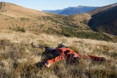 Hiking in Caucasus mountains. Stock Photo
