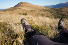Hiking in Caucasus mountains. Royalty Free Stock Images