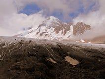 Hiking in the Caucasus Mountains. Climbing to Gergeti Glacier; Kazbegi, Georgia Royalty Free Stock Image