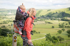Hiking with child stock photos