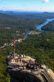 Chimney Rock overlooking the Rocky Broad River. royalty free stock images