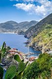 Hiking in the Cinque Terre and looking back at the village of Ve Stock Photography