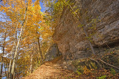 Hiking a Cliff Trail in the Fall Royalty Free Stock Images