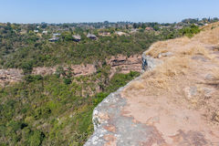Hiking Cliffs Valley Houses Landscape Stock Photography