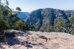 Hiking Cliffs Valley Landscape Stock Image