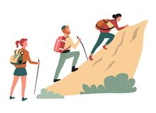 Hiking climbing cliff man and women hikers or backpackers. Vector outdoor activity mountain rock walking backpack or rucksack wild nature sport family stock illustration