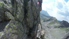 Hiking and climbing in the Tatra mountains stock video