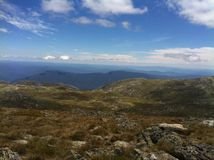 Hiking to Mount Kosciuszko summit. In summer from the kosciuszko express Stock Photography