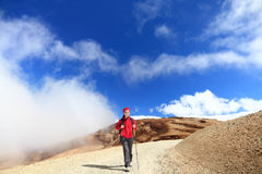 Hiking in clouds Royalty Free Stock Photography