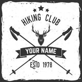 Hiking club badge with Trekking Poles. Stock Photos