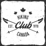 Hiking club badge with Trekking Poles. Stock Photography