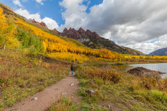 Hiking Colorado Mountains in Fall Stock Photos