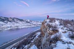 Hiking Colorado before sunrise Royalty Free Stock Image