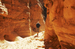 Hiking in Colorful canyon Royalty Free Stock Photos