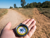 Hiking with compass Stock Photography