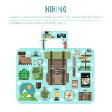 Hiking concept baggage shaped icons composition Stock Photo