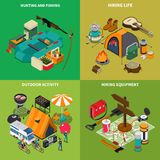 Hiking Concept Icons Set. With hiking life symbols isometric isolated vector illustration Stock Images