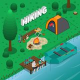 Hiking Concept Illustration. Hiking concept with fishing campfire and family symbols isometric vector illustration Royalty Free Stock Photo