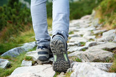 Hiking concept. Woman legs on the mountain trail stock images