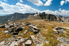 Hiking the Continental Divide. Arapaho Glacier Trail crosses the Continental Divide in the Colorado mountains Stock Photo