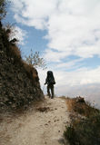 Hiking in the Cordilleras. Going tourist in the mountain Royalty Free Stock Photography