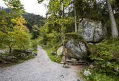 Hiking in the countryside. Picturesque German countryside. On the path to Kuchfluchwaterfalls Stock Photos