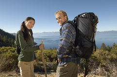 Hiking Couple On Coastal Track Royalty Free Stock Photography