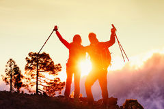 Hiking Couple Happy By Mountain Sunset In Success Stock Images