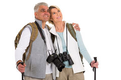 Hiking couple looking up Stock Photography